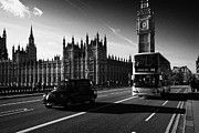 Palace Of Westminster Prints - London Bus And Taxi Crossing Westminster Bridge At The Palace Of Westminster Houses Of Parliament Print by Joe Fox