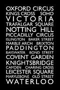 Typography Map Digital Art Framed Prints - London Bus Roll Framed Print by Michael Tompsett
