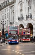 Evening Scenes Photos - London Buses Passing The Alliance Life by Justin Guariglia
