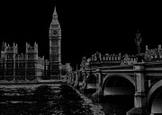 London England  Digital Art - London by Night by John Kain