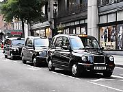 London Taxi Prints - London Cabs Print by Osvaldo Hamer