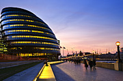 Pedestrians Prints - London city hall at night Print by Elena Elisseeva