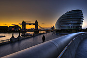 Hall Digital Art Framed Prints - London City Hall Sunrise Framed Print by Donald Davis