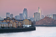 Canary Metal Prints - London City View Down Thames Metal Print by SarahB Photography
