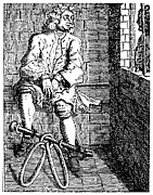 18th Century Prints - LONDON: DEBTORS PRISON. /nA debtor in fetters at the Marshalsea Prison, London, England. Line engraving, 18th century Print by Granger