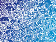 Road Map Art - London England Street Map by Michael Tompsett