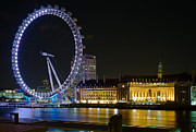 Time Exposure Posters - London Eye at Night Poster by Clarence Holmes