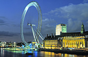 County Hall Prints - London Eye At Night Print by Douglas Pearson