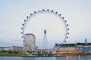 Architectural Detail Framed Prints - London Eye at Twilight Framed Print by John Harper