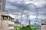 Village By The Sea Digital Art Prints - London Eye Print by Barry R Jones Jr