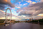 Famous Cities Prints - London Eye Evening Print by Kapuk Dodds