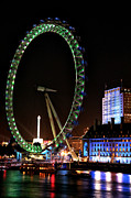 River Posters Prints - London Eye Green Print by John Rizzuto