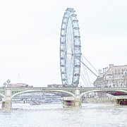 London Eye Prints - London Eye in pencil Print by Sharon Lisa Clarke