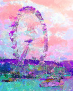 Merlin Mixed Media Posters - London Eye Poster by Marilyn Sholin