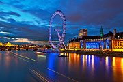 Londoneye Prints - london Eye Nightscape Print by Arthit Somsakul