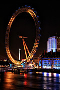 River Posters Prints - London Eye Orange Print by John Rizzuto