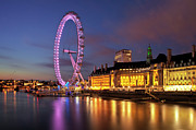 Ferris Wheel Night Photography Framed Prints - London Eye Framed Print by Stuart Stevenson photography