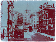 European Capital Digital Art Metal Prints - London Fleet Street Metal Print by Irina  March