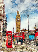 Big Ben Posters - London Icons in Watercolor Poster by Laura George
