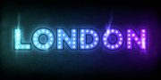 Name In Lights Metal Prints - London in Lights Metal Print by Michael Tompsett