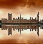 Water Reflection Prints - London Print by Jaroslaw Grudzinski