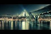 Illuminated Framed Prints - London Landmarks By Night Framed Print by Araminta Studio - Didier Kobi