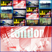 Photo Manipulation Mixed Media Framed Prints - London London Framed Print by Jan Steadman-Jackson