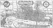 London City Map Framed Prints - London: Map, 1575 Framed Print by Granger