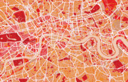 London City Map Framed Prints - London Map Art Red Framed Print by Michael Tompsett