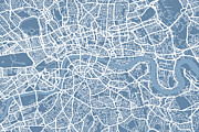 United Kingdom Framed Prints - London Map Art Steel Blue Framed Print by Michael Tompsett