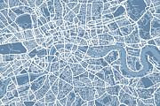 London Map Art Steel Blue Print by Michael Tompsett