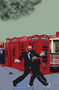 Matrix Posters - London Matrix Punching Mr Smith Poster by Jasna Buncic