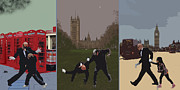 Bus Photos - London Matrix triptych by Jasna Buncic