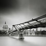 Gb Posters - London Millenium Bridge Poster by Nina Papiorek