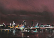 Skylines Pastels Prints - London Night Skyline 1 Print by Paul Mitchell