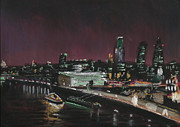 Skylines Pastels Prints - London Night Skyline 2 Print by Paul Mitchell