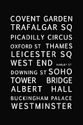 Typography Map Digital Art - London by Nomad Art And  Design
