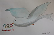 Olympics Drawings - London Olympics 2012 - DOVE by Roger Cummiskey