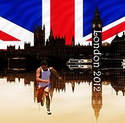 Sprinter Prints - London Olympics 2012 Print by Sharon Lisa Clarke