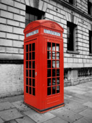 Black And Red Prints - London Phone Booth Print by Rhianna Wurman