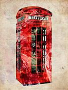 Red Digital Art Framed Prints - London Phone Box Urban Art Framed Print by Michael Tompsett