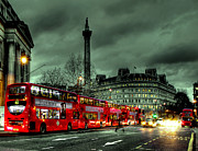 Night Scene Prints - London Red buses and Routemaster Print by Jasna Buncic