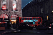 Piccadilly Prints - London Red Buses Print by Stefan Kuhn