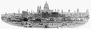 River Transportation Framed Prints - London Skyline, 1854 Framed Print by Granger