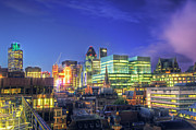 Observation Posters - London Skyline At Night Poster by Gregory Warran