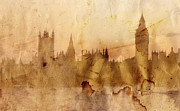 Sight Painting Posters - London skyline Poster by Michal Boubin