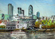 Skylines Pastels Posters - London Skyline Poster by Paul Mitchell