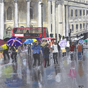 Umbrella Drawings Framed Prints - London - Summer 2012-1 Framed Print by Peter Edward Green
