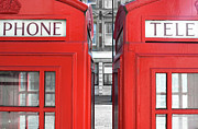 Side By Side Framed Prints - London Telephones Framed Print by Richard Newstead