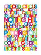 Colorful Framed Prints - London Text Bus Blind Framed Print by Michael Tompsett